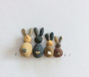 pebble art rabbits