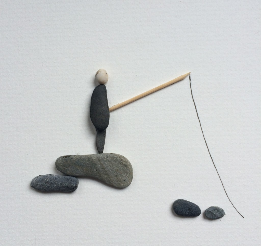 Pebble Art Gone Fishing 1