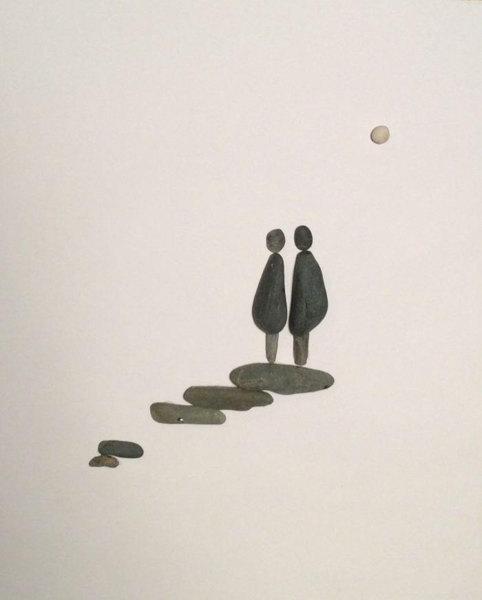 pebble art couple