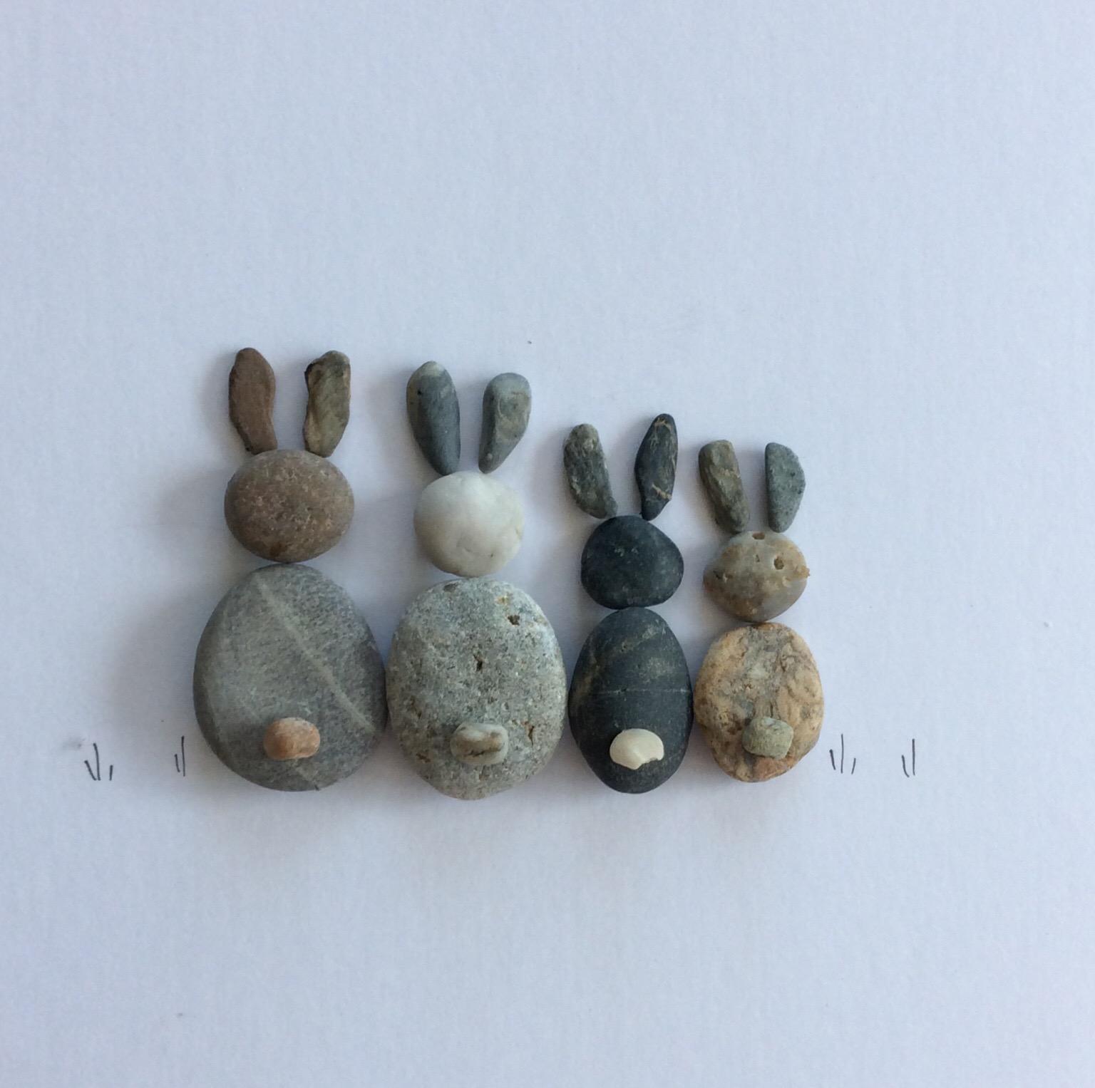 pebble art rabbits grey
